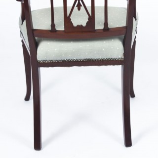 Antique Sheraton Revival Mahogany Inlaid Armchair 19th C
