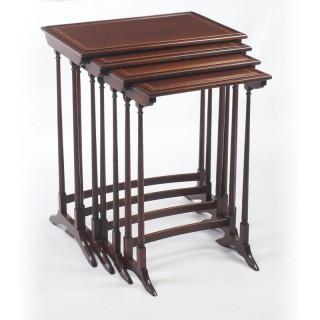 Antique Edwardian Mahogany Quartetto Nest of 4 Tables 19th C