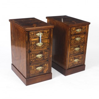 Antique Pair Edwardian Mahogany Marquetry Bedside Chests 19th C