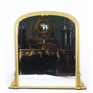 Antique Arched Top Giltwood Overmantle Mirror 19th Century