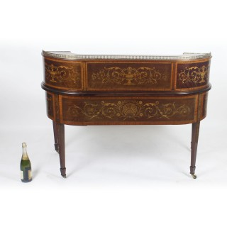 Antique Marquetry Carlton House Desk Writing Table Druce & C0 19th C