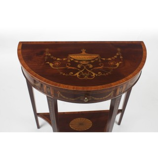 Antique Near Pair Demilune Mahogany & Marquetry Console Tables 19th C