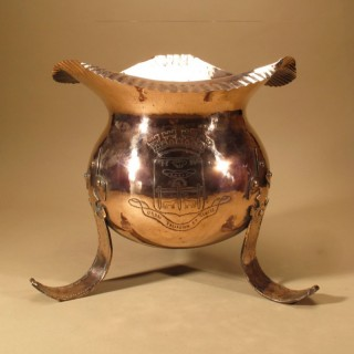 Large Copper Jardinière With Coat of Arms of Pau France.