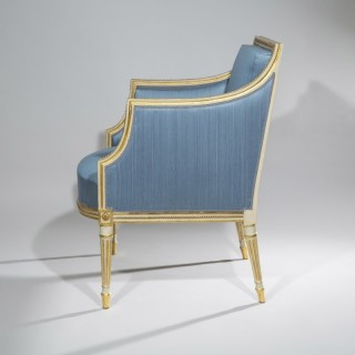 George III Cream Painted and Gilt Armchair