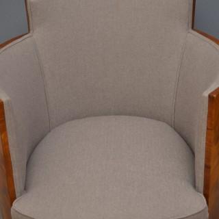 Stylish Art Deco Armchair in Walnut