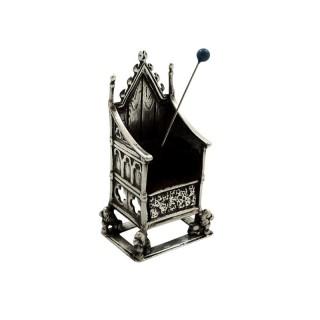 Antique Edwardian Sterling Silver Throne / Coronation Chair Pin Cushion 1902