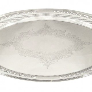 Antique Victorian Sterling Silver 23″ Oval Tray – 1899