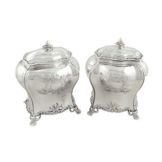 Pair of Antique Georgian Sterling Silver Caddies 1759