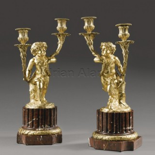 A Pair of Gilt-Bronze and Rouge Marble Two-Branch Candelabra