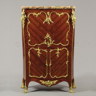 A Louis XVI Style Gilt-Bronze Mounted Marquetry Inlaid Secretaire à Abattant