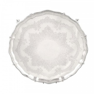 Antique Victorian Sterling Silver 12″ Tray / Salver 1875