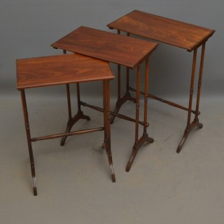 Regency Nest of 3 Tables in Figured Mahogany