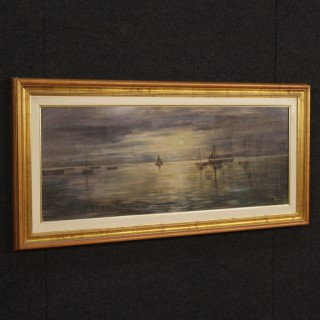 Italian Signed Painting Nocturnal Seascape Mixed Media On Canvas 20th Century