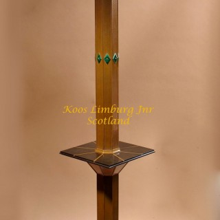 Exceptional Copper,  Malachite,  Bakelite and Glass Design Standard Lamp. Signed and Dated