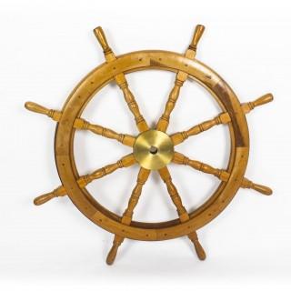 Antique Large Brass Set Eight Spoke Mahogany Ships Wheel, 19th Century