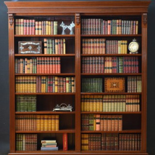 Large Victorian Double Open Bookcase in Mahogany