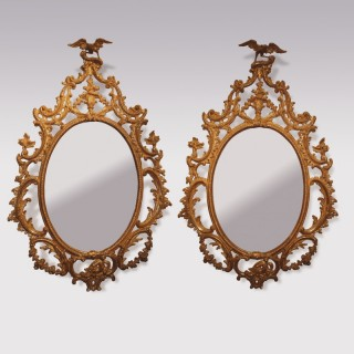 Pair Of Mid 18th Century Giltwood Chippendale Style Mirrors