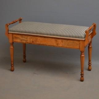 Rare Victorian Walnut Duet Stool
