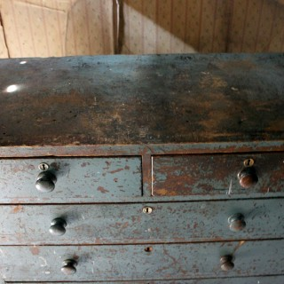 A Decorative Teal Painted Pine Chest of Drawers c.1900-15