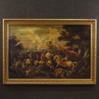 Italian Battle Painting Oil On Canvas From 20th Century