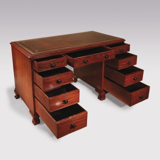 Small George III Mahogany Pedestal Desk