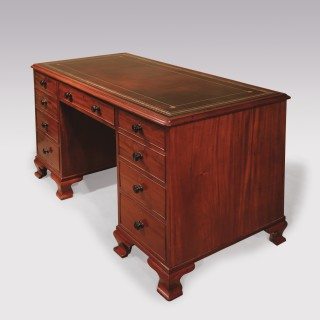 Small George III Mahogany Pedestal Desk