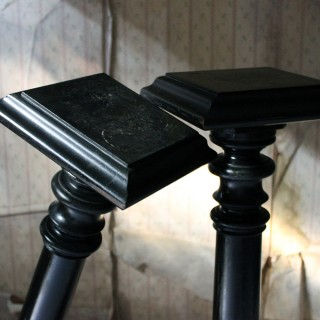 Pair of Late Victorian Ebonised Torchère Stands c.1880
