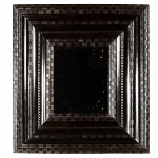 DUTCH BLACK EBONISED RIPPLE MOULDED MIRROR