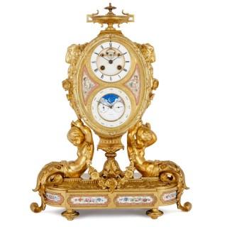 Antique porcelain mounted gilt bronze calendar clock