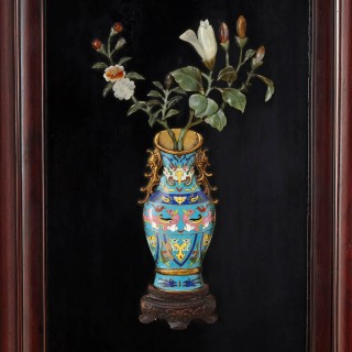 Chinese hardstone, cloisonne enamel and lacquer screen
