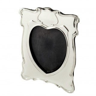 Antique Edwardian Sterling Silver 'Heart' Photo Frame 1902