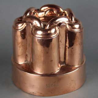 A VICTORIAN COPPER CHAIN LINK MOTIF JELLY MOULD