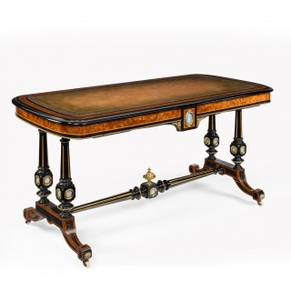 Fine Edwards and Roberts 19th Century Ebonised and Thuya Wood Writing Table