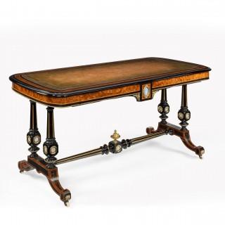 Fine Edwards and Roberts 19th Century Ebonised and Thuya Wood Writing Table