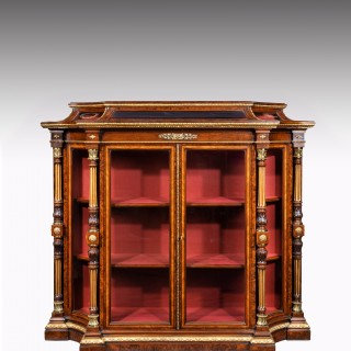 An Exhibition Quality Mid-19th Century Burr Walnut Credenza / Display Cabinet, Holland & Sons.