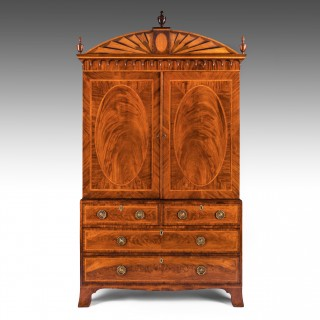 An Important Sheraton George III 18th Century Mahogany and Satinwood Linen Press
