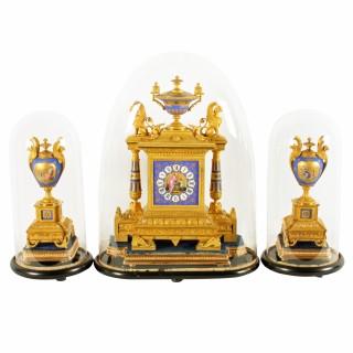 French Ormolu & Porcelain Clock Garniture