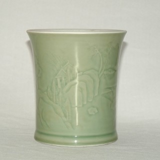 Kangxi / Yongzheng Carved Celadon Brush pot