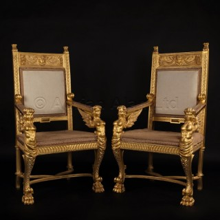 A Pair of Italian Carved Giltwood Thrones