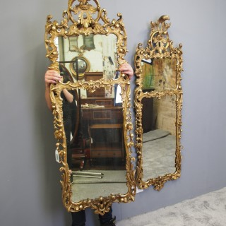 Pair of Large Carved Giltwood Wall Mirrors