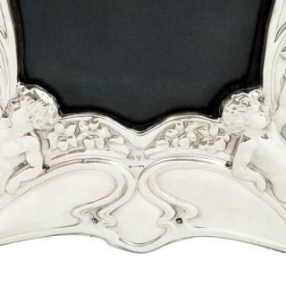 Antique Art Nouveau Sterling Silver 'Angels' Photo Frame 1907