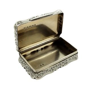 Antique Victorian Sterling Silver Snuff Box 1871