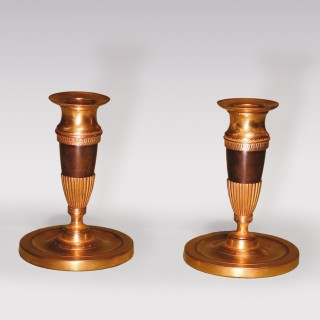 Small Pair Of Mid 19th Century Bronze And Ormolu Candlesticks