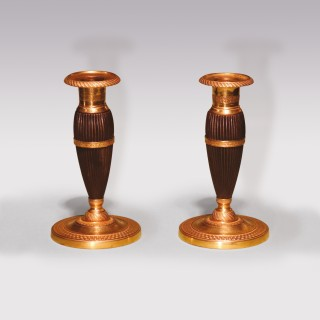 Pair Of Early 19th Century Bronze And Ormolu Bulbous Candlesticks