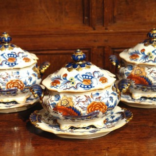 Set of Three Ridgway Ironstone China Tureens