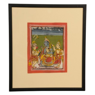Indian miniature painting of Rama and Sita enthroned, Rajasthan