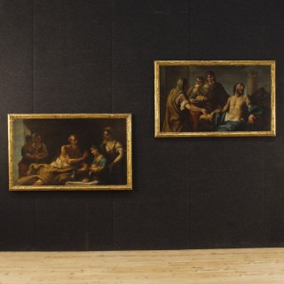 Pair Of Venetian Paintings Depicting Mythological Scenes Oil On Canvas From 18th Century