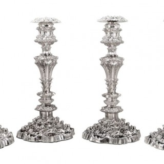 Set 4 Antique William IV Sterling Silver 13″ Candlesticks 1832