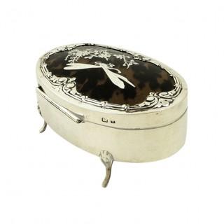 Antique Edwardian Sterling Silver & Tortoiseshell Dragonfly Trinket Box 1907