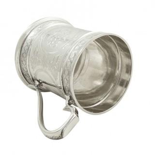 Antique Victorian Sterling Silver Mug / Tankard 1872